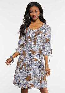 Plus Size Seamed Puff Print Paisley Dress