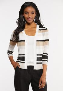 Plus Size Sheer Stripe Cardigan