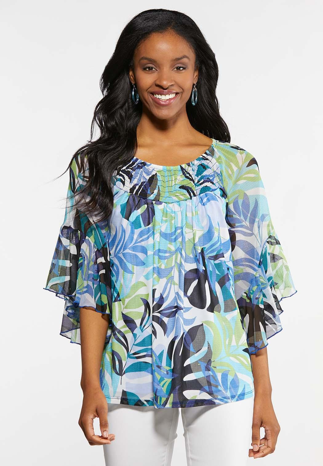 64bcac8ff8c Plus Size Blue Floral Mesh Sleeve Top Tees   Knit Tops Cato Fashions