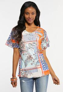 Plus Size Mesh Mixed Print Top
