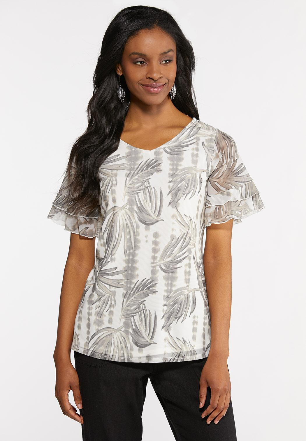 Plus Size Mesh Palm Top Tops Cato Fashions