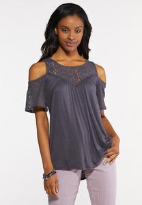 6f772d26fd3861 Plus Size Lace Yoke Cold Shoulder Top