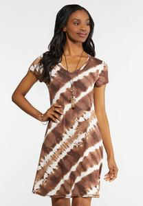 Plus Size Tie Dye V-Neck Dress