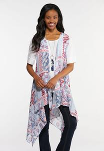 Sheer Paisley Patchwork Vest