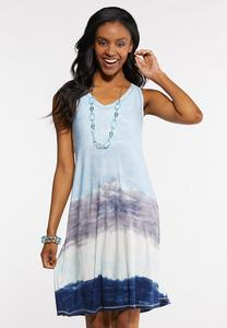 Plus Size Stripe Tie Dye Swing Dress