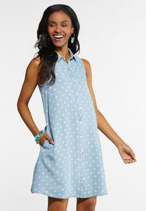 Plus Size Dotted Chambray Shirt Dress