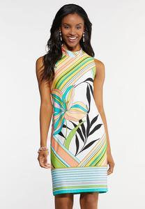 Tropical Mock Neck Sheath Dress