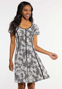 Piped Puff Floral Dress