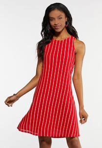 Plus Size Red And White Stripe Dress