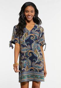 Paisley Cold Shoulder Shift Dress