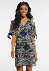 Paisley Cold Shoulder Shift Dress