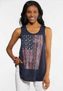 Plus Size Paisley Flag Tank