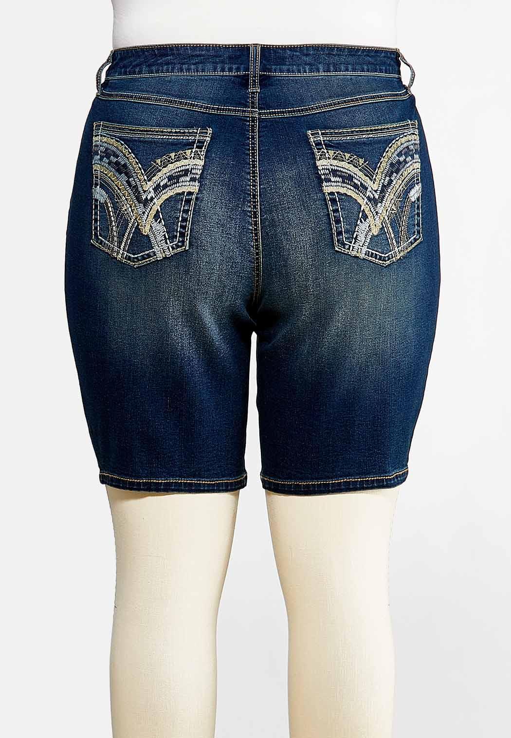 Plus Size Stitched Denim Bermuda Shorts