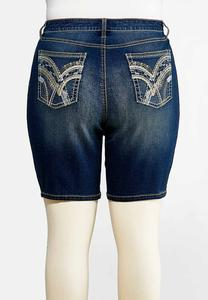 Plus Size Stitched Denim Bermuda Shorts