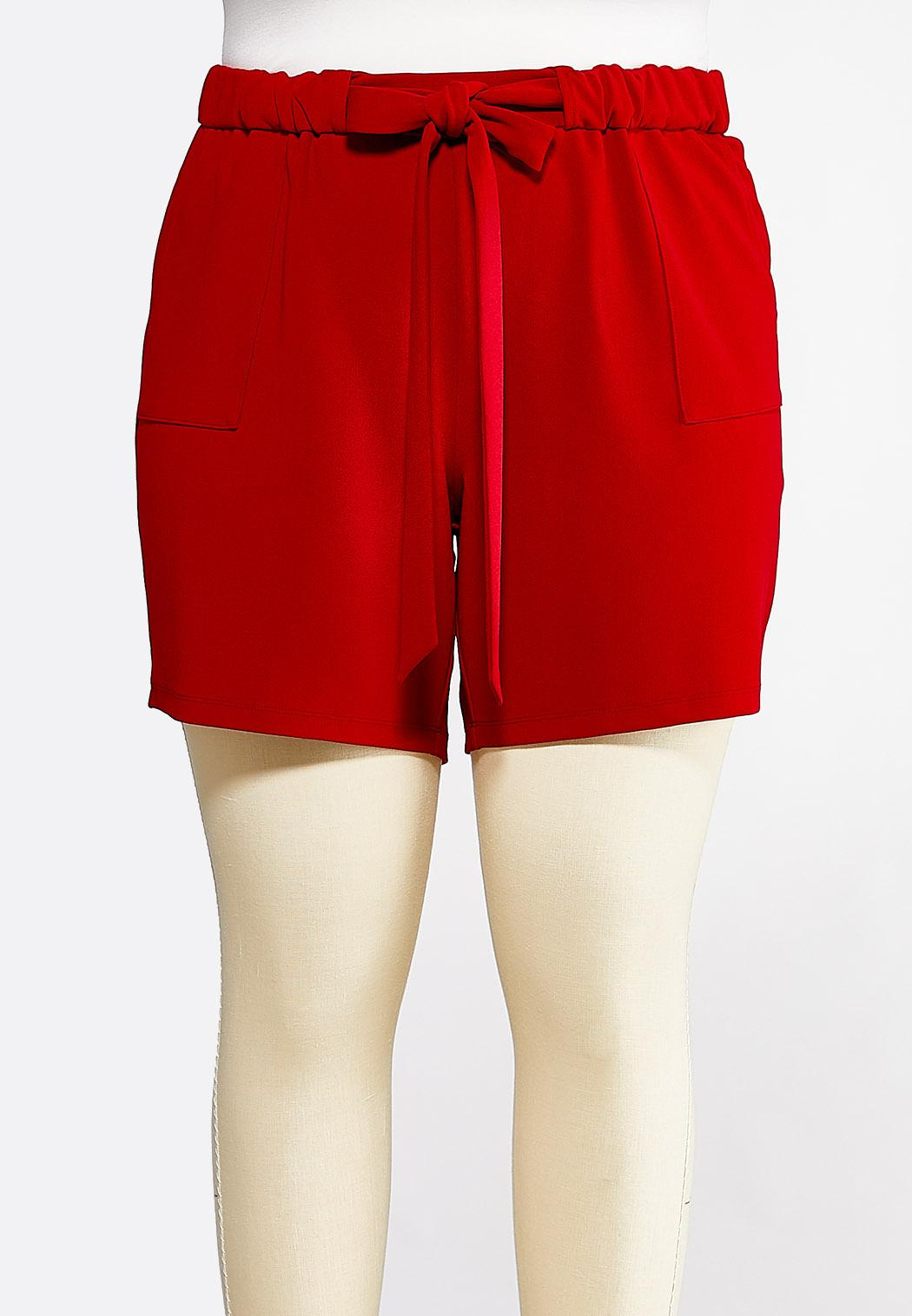 Plus Size Red Tie Waist Shorts
