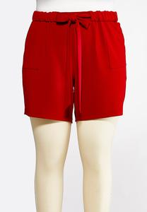 Plus Size Red Tie Waist Shorts