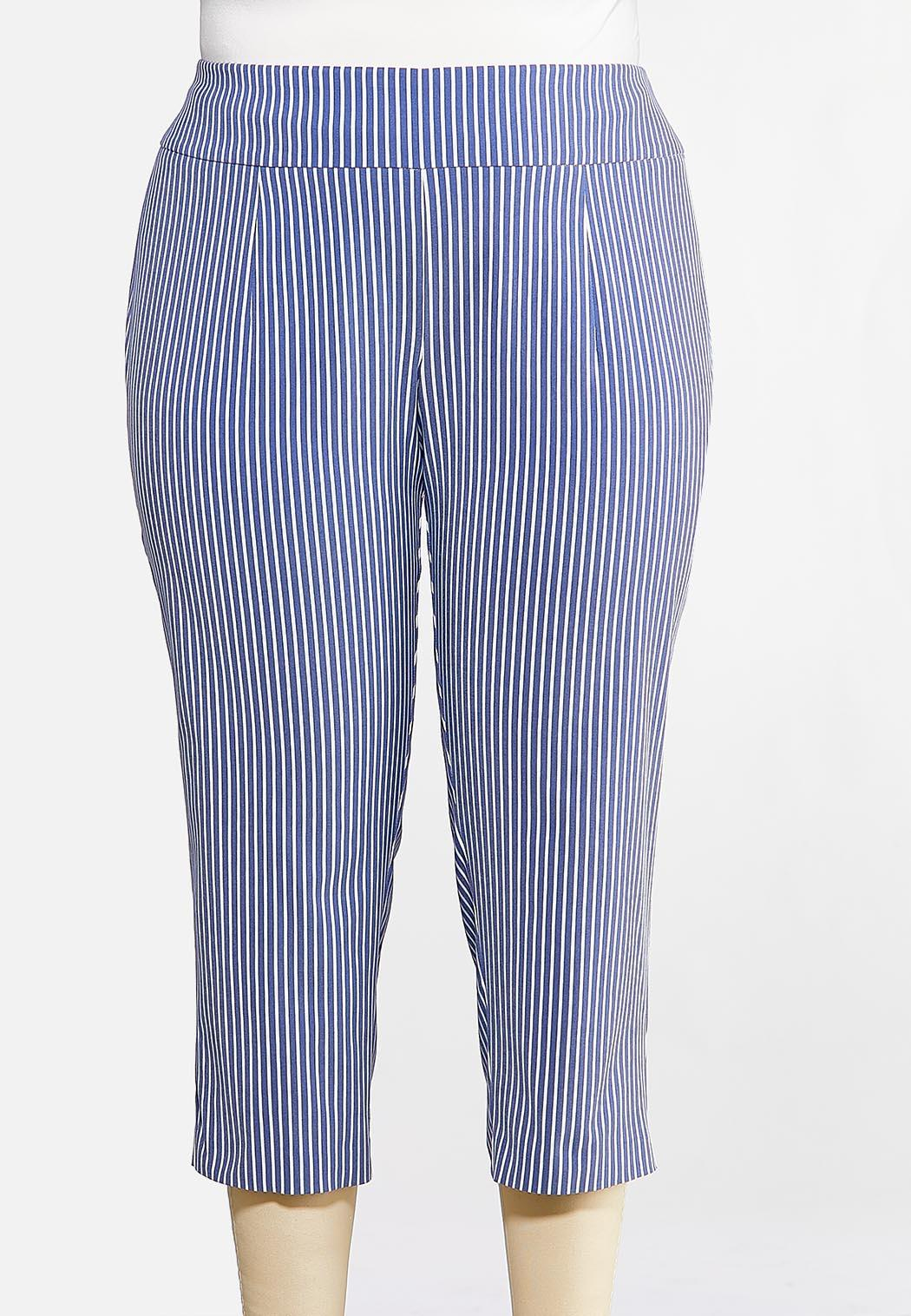 Plus Size Cropped Stripe Bengaline Pants