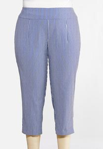 Plus Size Cropped Stripe Bengaline Pants