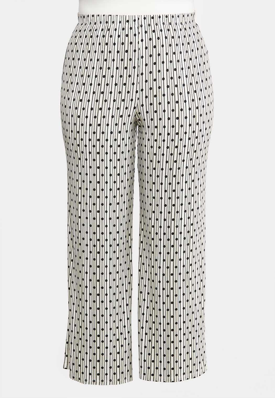 Plus Size Dotted Stripe Palazzo Pants