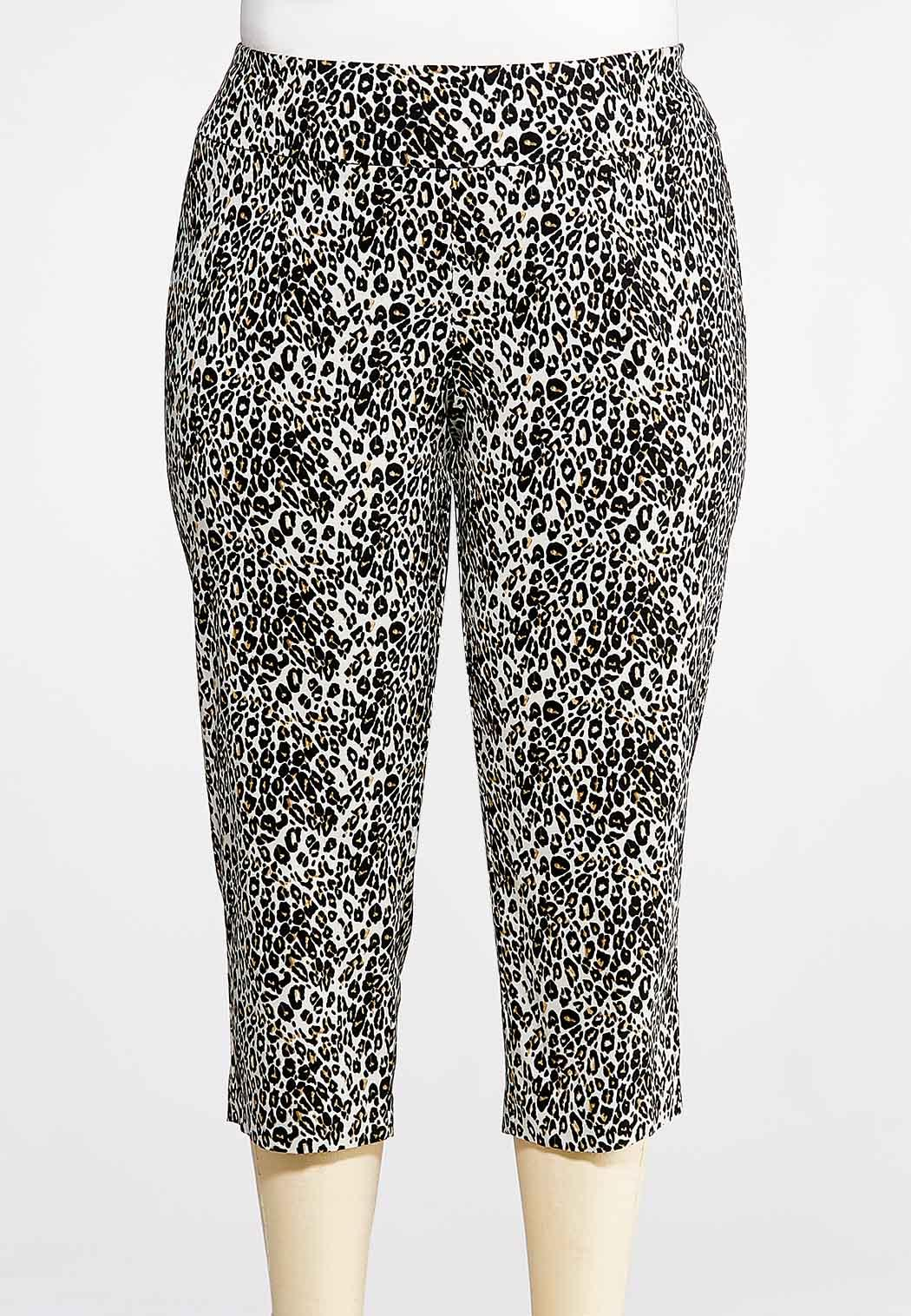 11419856918 Plus Size Cheetah Bengaline Pants alternate view · Plus Size Cheetah Bengaline  Pants