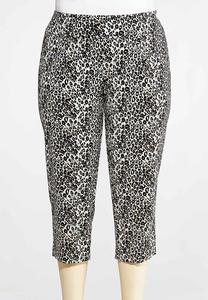 Plus Size Cheetah Bengaline Pants