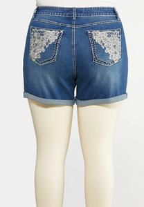 Plus Size Floral Embroidered Denim Shorts