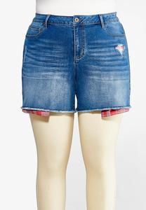 Plus Size Berry Plaid Denim Shorts