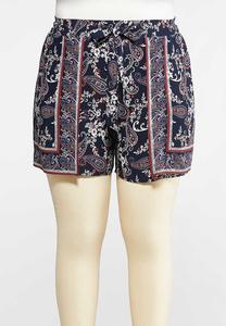 Plus Size Paisley Floral Tie Front Shorts