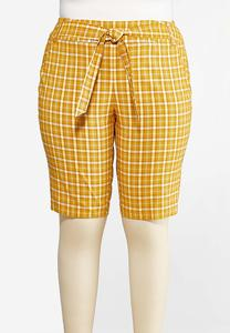 Plus Size Yellow Tie Shorts