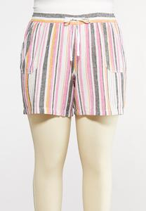 Plus Size Stripe Linen Beach Shorts