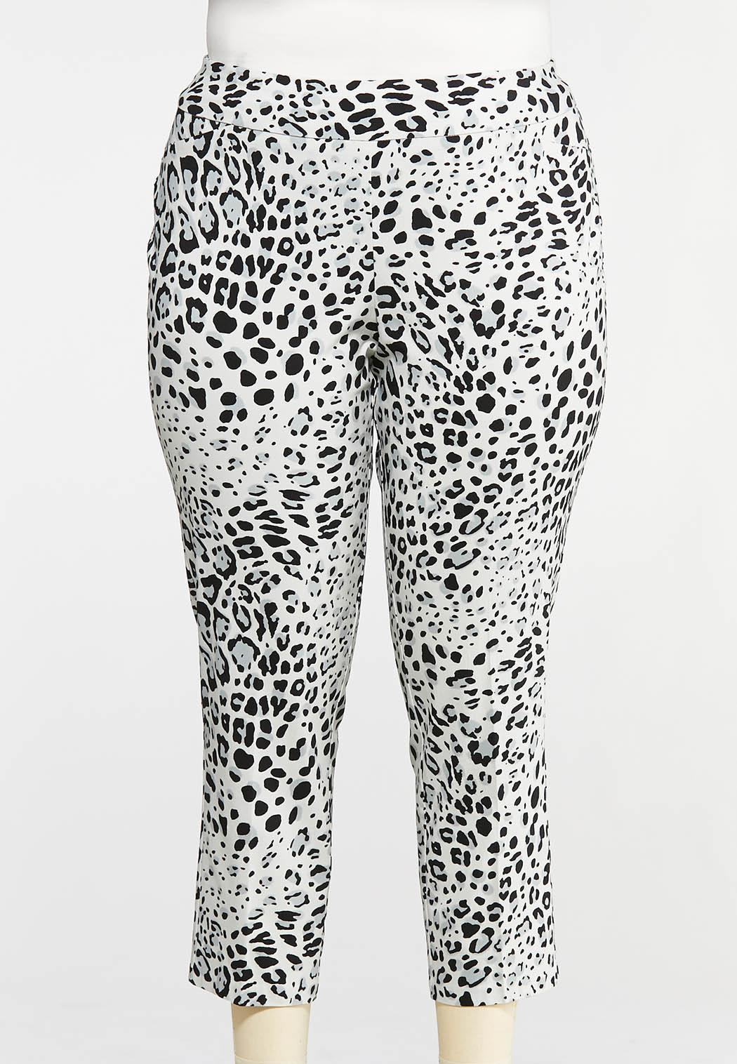 Plus Size Cropped Snow Leopard Pants