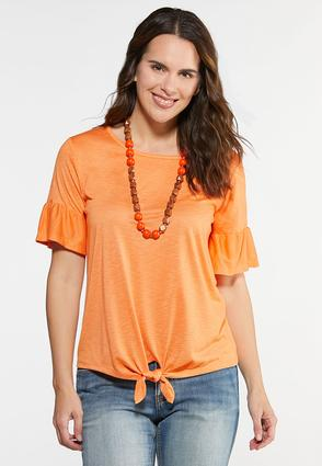 Knotted Flutter Sleeve Top