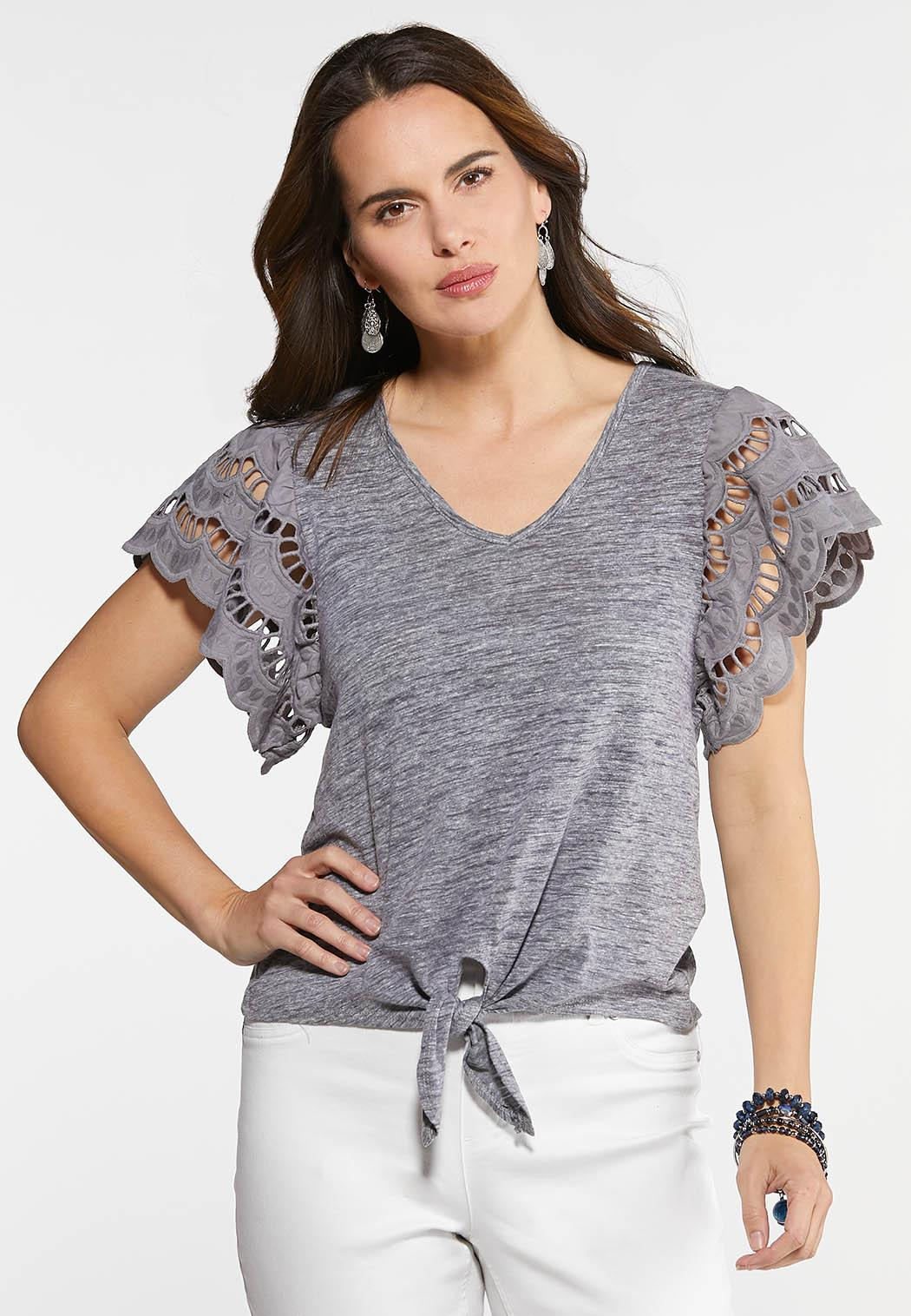 ad69cc0b450 Plus Size Eyelet Flutter Sleeve Top Tees & Knit Tops Cato Fashions