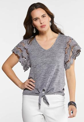 Plus Size Eyelet Flutter Sleeve Top