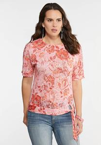 Plus Size Floral Burnout Tie Front Top