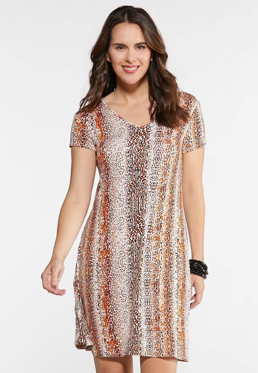Plus Size Leopard Twist Back Swing Dress