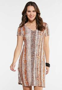 Plus Size Leopard Twist Back Swing Dress