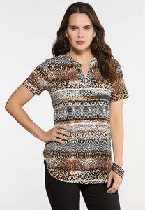 Plus Size Safari Pullover Knit Top