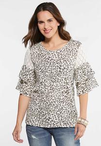 e5c9f5d6f8c Leopard Crochet Sleeve Top