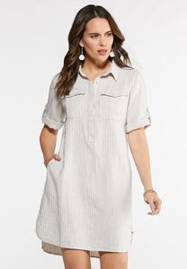 Plus Size Rolled Sleeve Shirt Dress