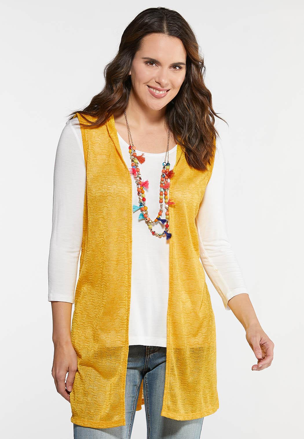 Plus Size High Slit Hooded Vest