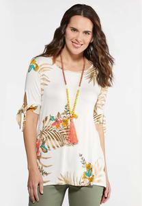 Plus Size Tropical Tie Sleeve Top