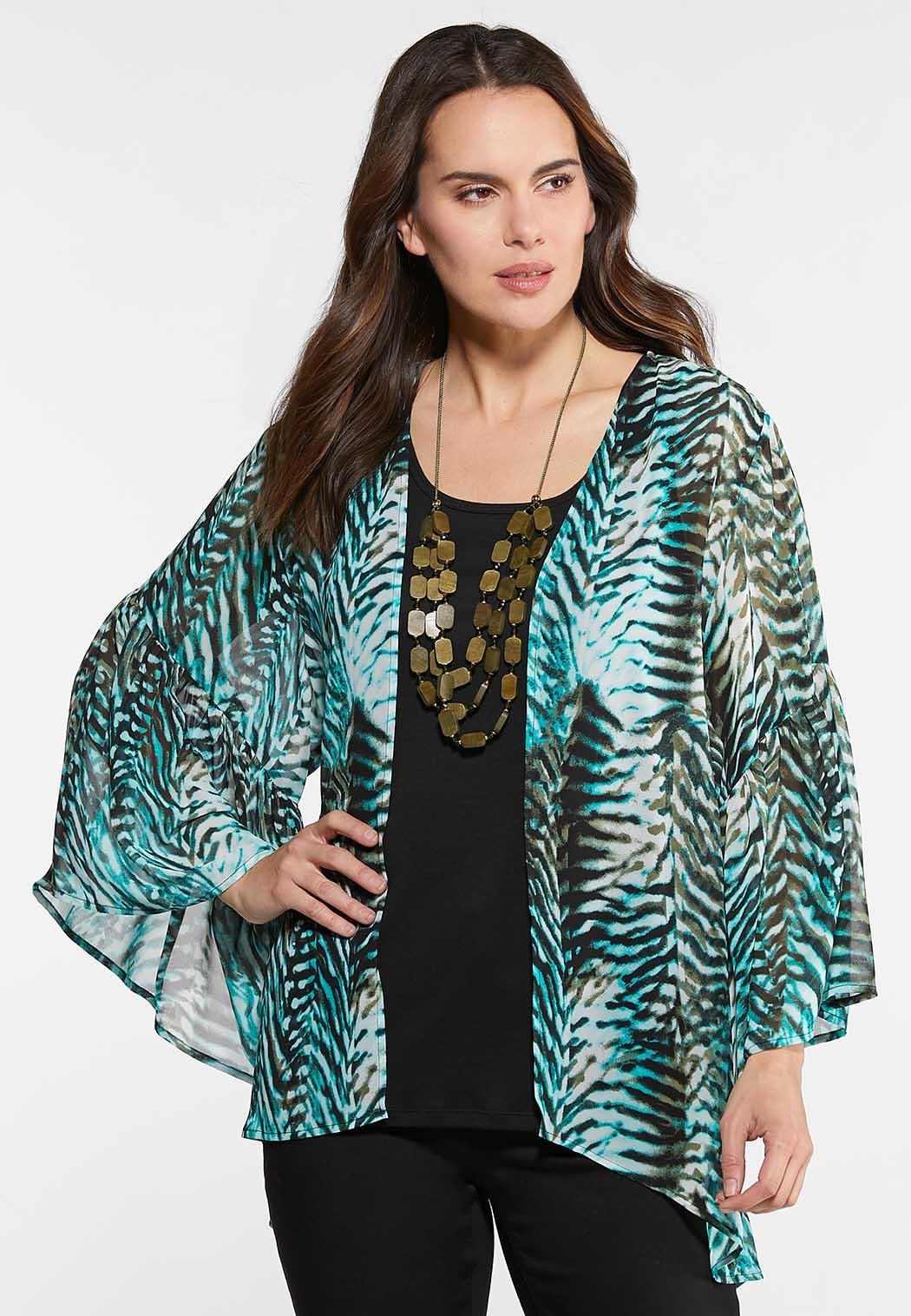 4443f7f3f83 Plus Size Teal Animal Print Kimono Tops Cato Fashions