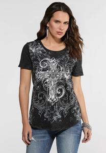 Plus Size Burnout Embellished Cross Tee