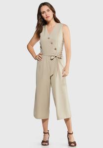 Button Front Cropped Jumpsuit