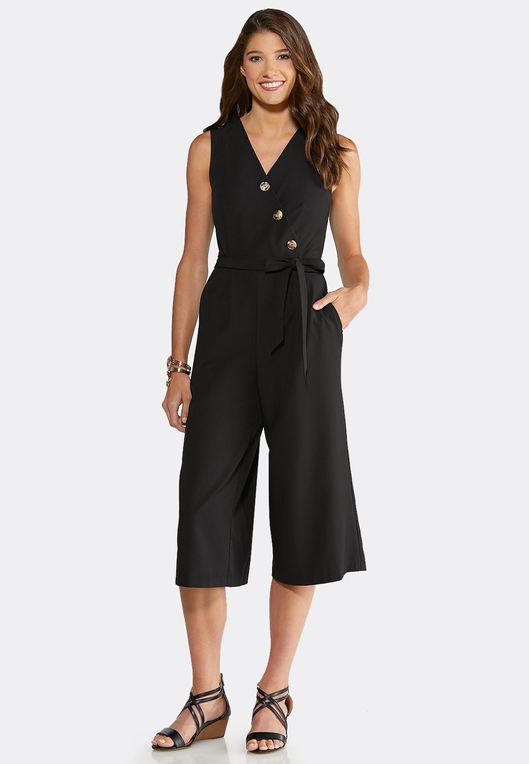 Plus Size Button Front Cropped Jumpsuit