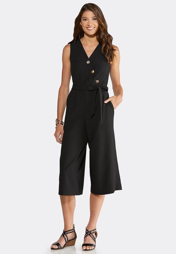 Plus Size Button Front Cropped Jumpsuit Jumpsuits Cato Fashions