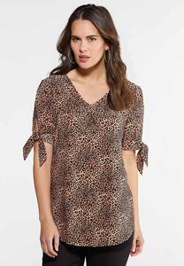 Plus Size Tie Sleeve Cheetah Top