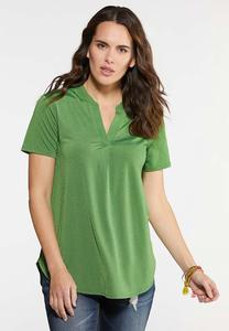 Plus Size Green Pullover Top