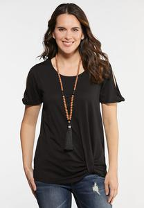Plus Size Twisted Cold Shoulder Tee